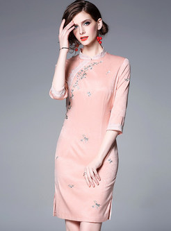 Fashion Embroidered Slim Improved cheongsam