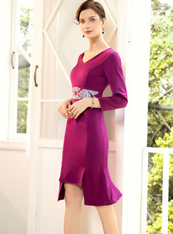 V-neck Hot Drilling Hip Mermaid Dress