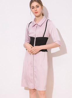 Patchwork Color-blocked Waist Zipper Dress