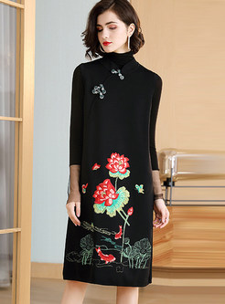 Stand Collar Sleeveless Embroidered Shift Dress