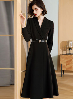 V-neck A Line Trench Coat With Belt