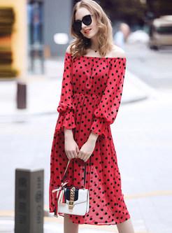 Slash Collar Flare Sleeve Dot Waist Dress