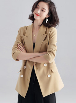 Solid Color Lapel Double-breasted Straight Blazer