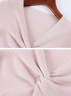 Sexy V-neck Knot Slim Pullover Sweater