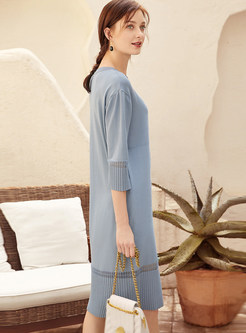 Solid Color O-neck Openwork Loose Knit Dress