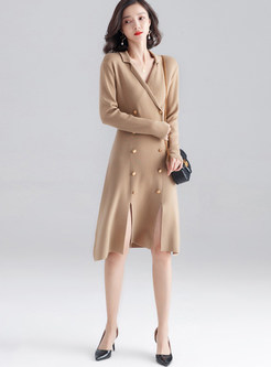 Camel V-neck Double-breasted Waist A-line Dress