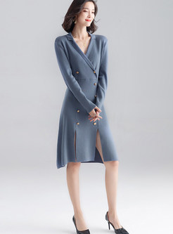 Gray-blue Notched Double-breasted Waist A-line Dress