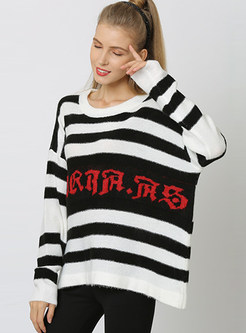 Plus Size Striped Letter Knit Top