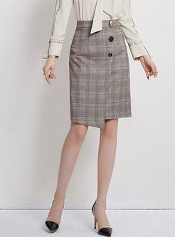 High Waisted Plaid Irregular Skirt