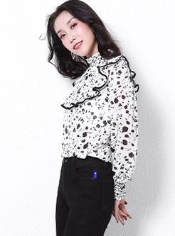 Turtleneck Falbala Print Pullover Blouse