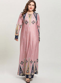 Plus Size Print Big Hem Maxi Dress