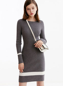 Color-blocked O-neck Slim Sweater Dress