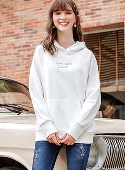 Casual Letter Print Hooded Sweatshirt
