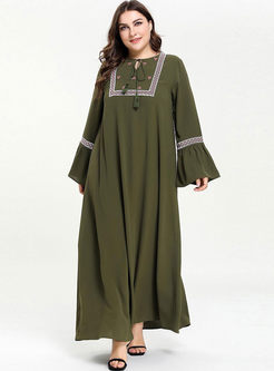 Plus Size Flare Sleeve Embroidered Dress