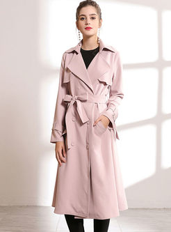 Pink Notched Slim Long Trench Coat