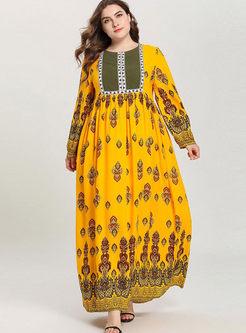 Yellow Plus Size Print Maxi Dress