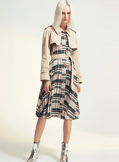 Lapel Patchwork Pleated Trench Coat With Belt