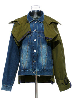 Fashion Lapel Patchwork Denim Coat