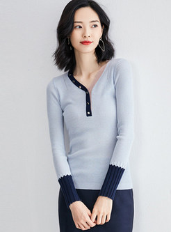 V-neck Patchwork Color-blocked Slim Sweater