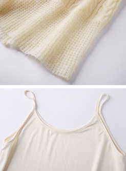 Camisole Knit Dress With Belt Two-piece Outfits