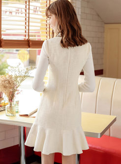 White Lapel Long Sleeve Sweater Dress