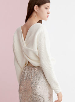 White V-neck Back Cross Sweater