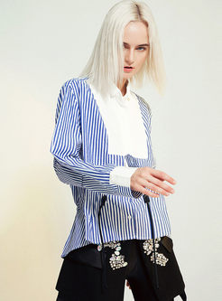 Lapel Striped Drawcord Waist Blouse