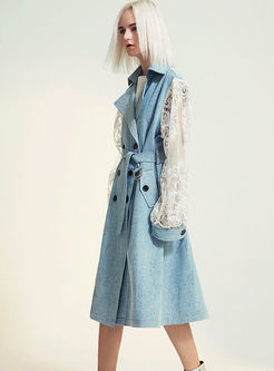 Long Sleeve Lace Patchwork Trench Coat