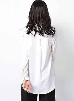 Brief Turn Down Collar Loose Blouse