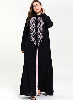 Plus Size Embroidered Patchwork Slit Maxi Dress