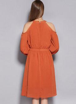 Halter Off The Shoulder Lacework Skater Dress