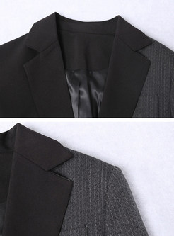 Work Lapel Patchwork Color-blocked Straight Blazer