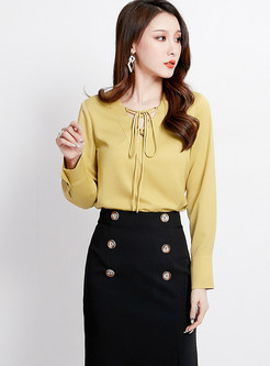 Solid Color V-neck Long Sleeve Tie Blouse
