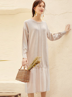 Patchwork Mesh Pullover Long Knit Dress