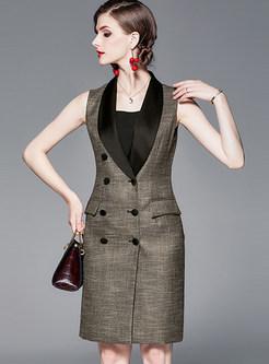 Lapel Sleeveless Double-breasted Bodycon Dress