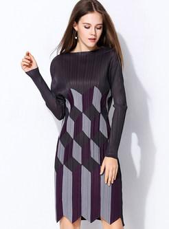 Pleated Print Irregular Hem Slim Dress