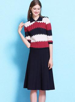 Lapel Half Sleeve Color-blocked Thin Knit Dress