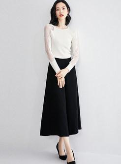 White O-neck Lace Openwork Patchwork Slim Sweater
