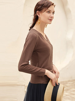 Brown V-neck Long Sleeve T-shirt
