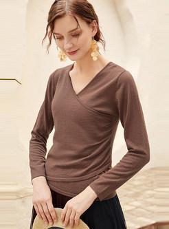 Brown V-neck Long Sleeve T-shirt