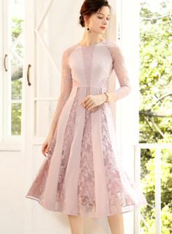 Pink Patchwork Lace Openwork Skater Dress