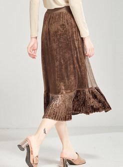 Elastic Waist Falbala Velvet Skirt