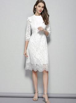 Lace Openwork Patchwork Irregular Waist Dress