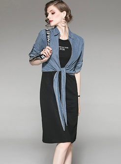 Denim Thin Top & O-neck Sleeveless Loose Dress