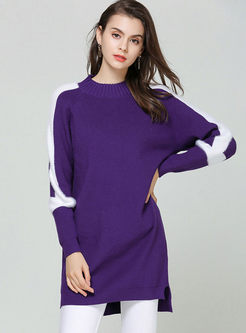 Color-blocked Pullover Slit Long Sweater