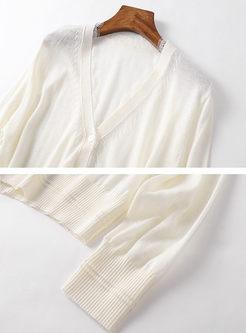 Solid Color V-neck Slim Cardigan
