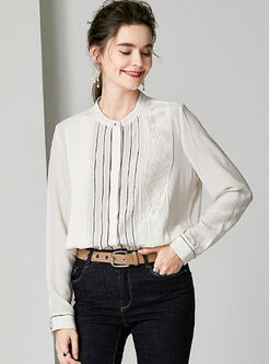 O-neck Long Sleeve Striped Silk Blouse