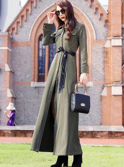 Solid Color Lapel Long Sleeve Maxi Dress
