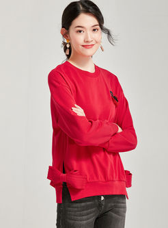 Red O-neck Pullover Bowknot Sweatshirt