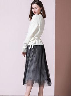 V-neck Drawcord Cardigan & Mesh A Line Dress